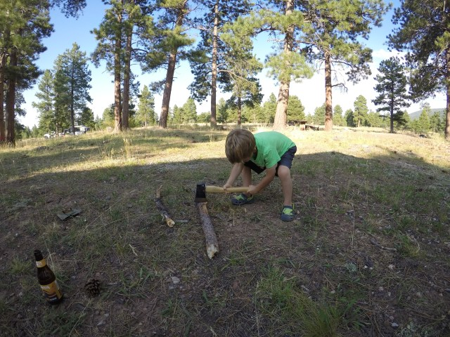 Chopping wood at Green Lake Camgrp