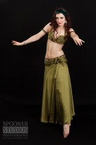 Oxford Bellydancer Rasha Nour in an olive green costume