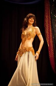 Rachael performing a bellydance drum solo in Oxford