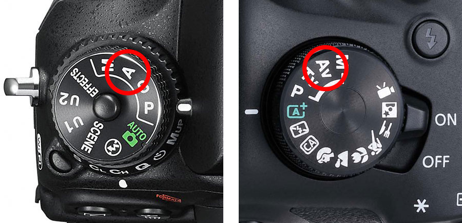 Aperture priority cannon and nikon
