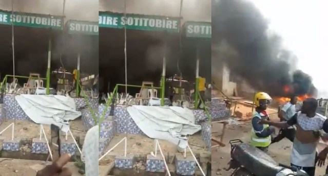Watch: Angry youth burn down church after a baby's corpse was found