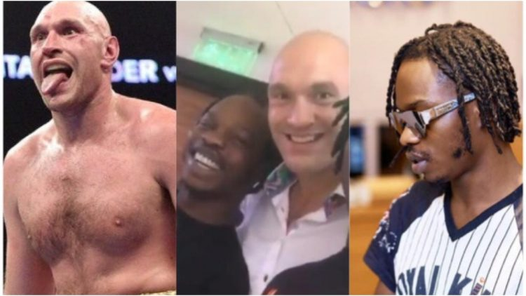"Video: Naira Marley Spotted Chilling With Tyson Fury After ""Disgracing"" Deontay Wilder At The Just Ended Boxing Bout"