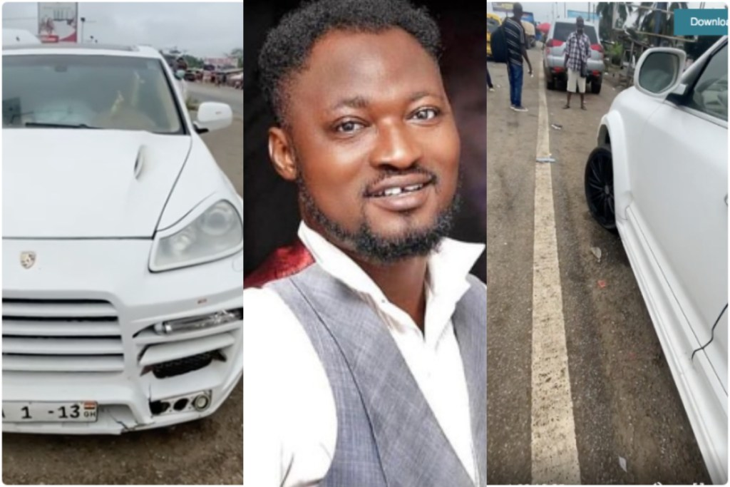 Funny Face Involved In A Motor Accident On Accra- Kumasi Highway