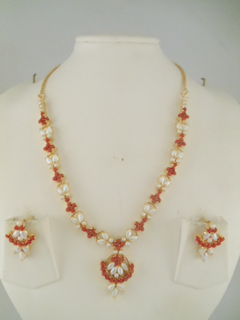 Indian Jewelry Multi color Red coral and pearl Necklace Sets