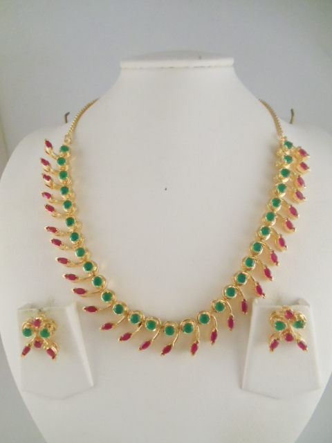 Indian Jewelry Ruby And Emerald Gemstone Necklaces