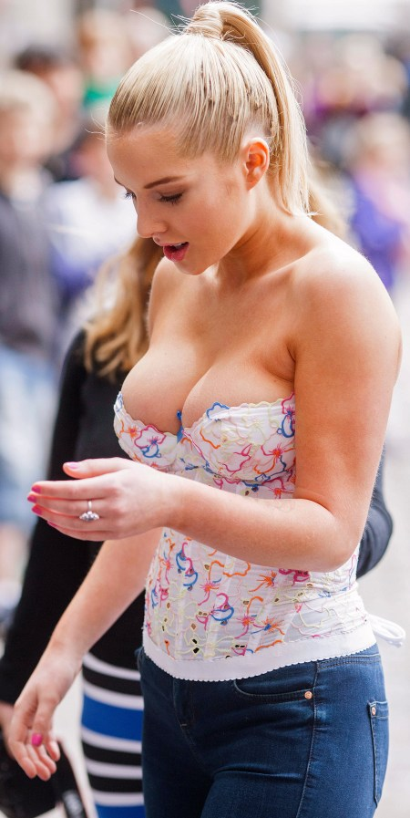 Covent Garden. Picture shows: FHM Sexiest Woman Helen Flanagan today unveiled a new PETA campaign in Covent Garden.