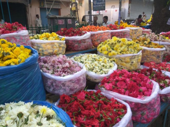 Well stocked flower markets typical of the festive season
