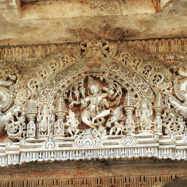 Exemplary filigree work at the Hoysaleshwara temple in Halebid architecturehellip