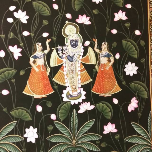 A stunning Pichwai painting depicting Srinathji Lord Krishna on displayhellip
