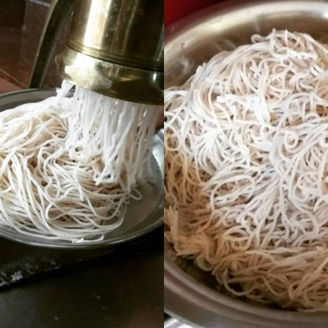Home made shavige aka noodles a delicacy often reserved forhellip