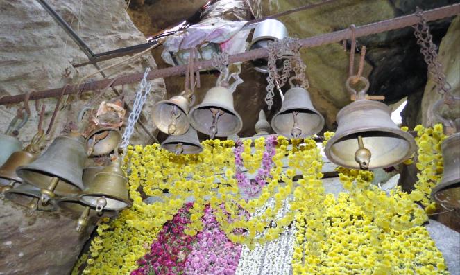 Bells tied atop the Kallu Ganapati temple
