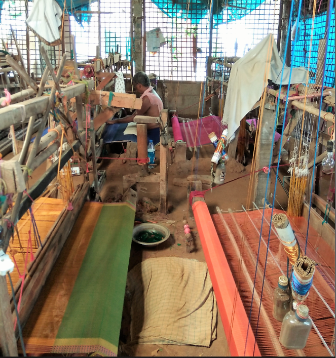 Pit looms used for weaving Mangalagiri sarees