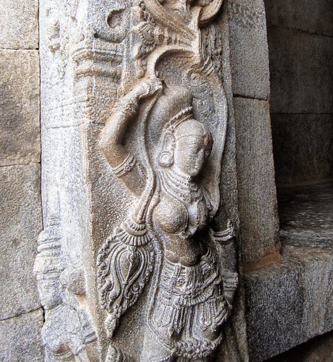 Carved pillars at the Veerabhadra temple in Lepakshi