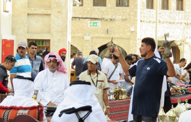 An acution in progress at Souq Waqif