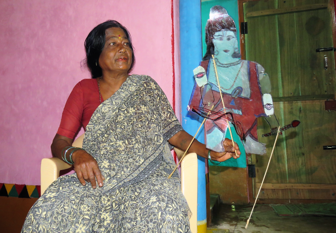 Gouramma a leather puppet artist from Karnataka