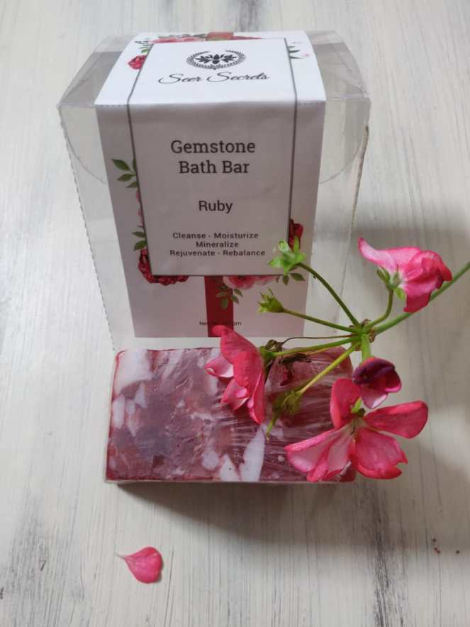 Ruby gemstone bath bar from Seer secrets