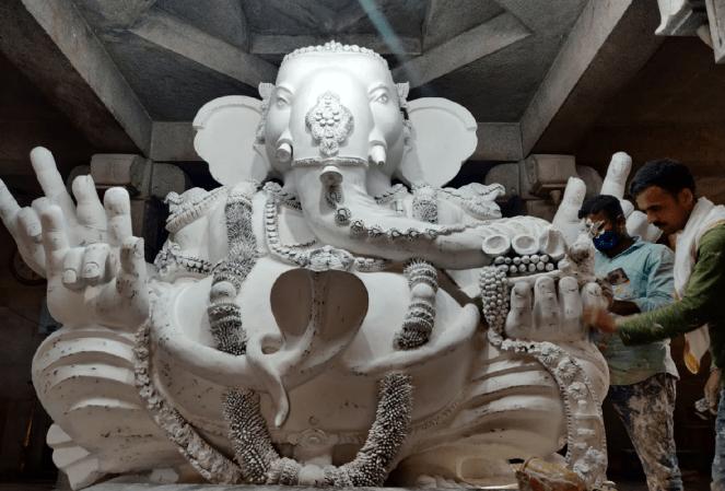 Clay Ganesha being crafted inside Gulur Ganesha temple