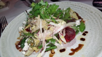 The worlds best # endive #salad enlivened wt #date puree and crunchy wt #pinenuts @chefwolfgangpuck @spagorest