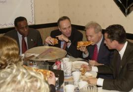 Charles Schumer (L) & Anthony Weiner (R) Pizza