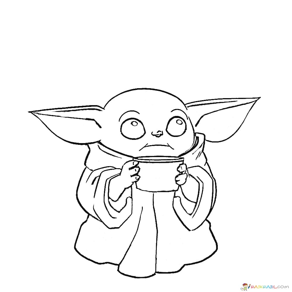 Baby Yoda Coloring Pages - colouring mermaid