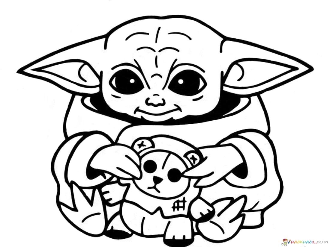Coloring Pages Baby Yoda The Mandalorian And Baby Yoda Free