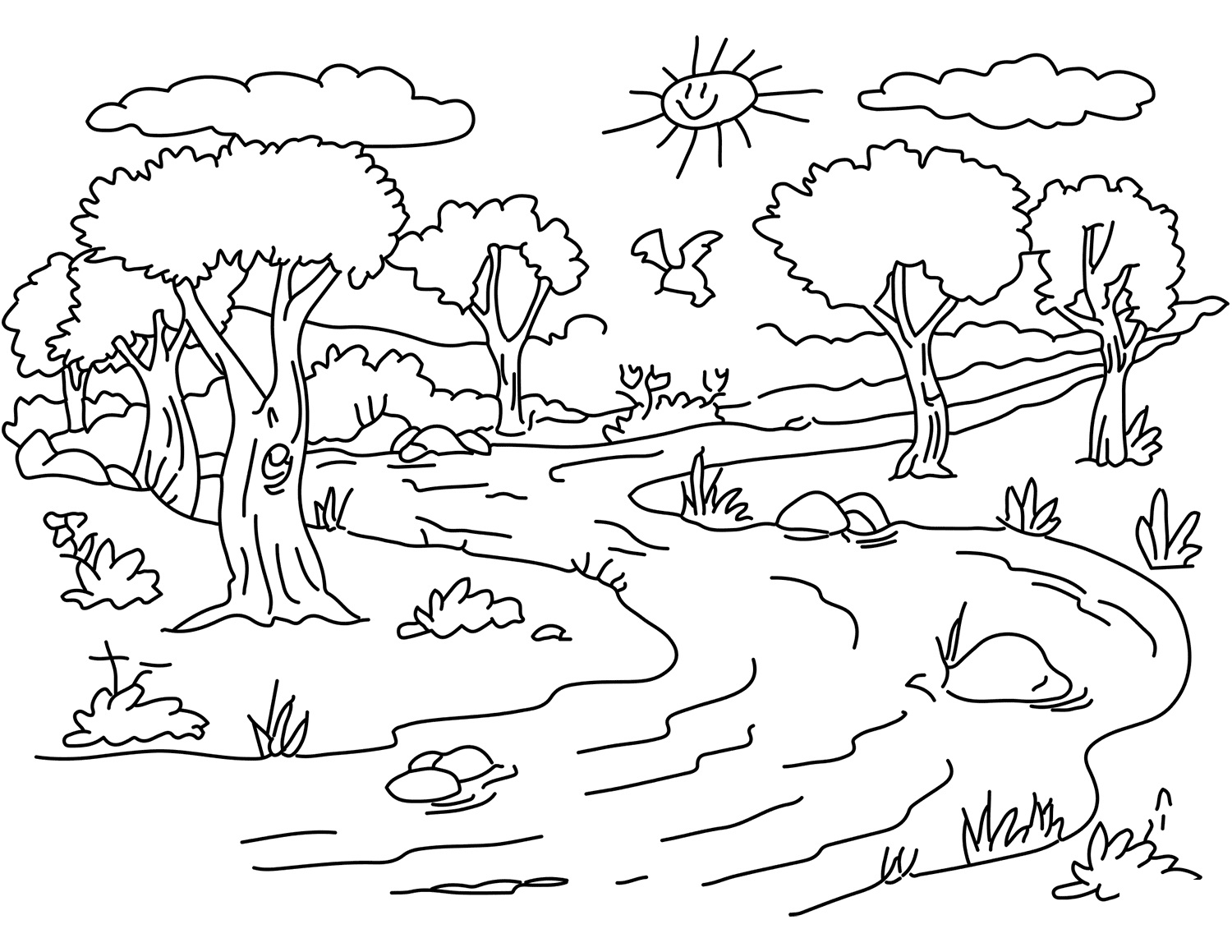 Coloring Pages Nature. Landscape, forest, mountains, sea