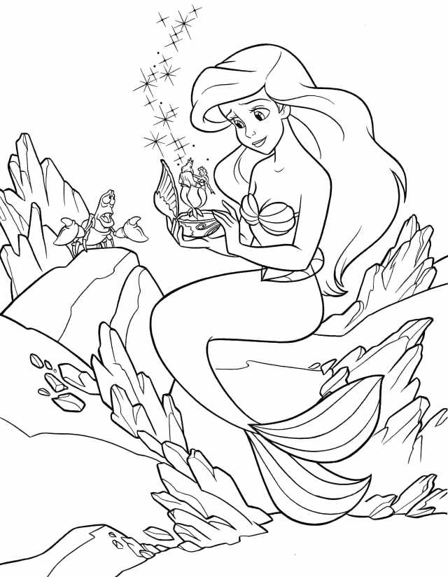 Coloriage Ariel la petite sirène. Imprimer pour les filles