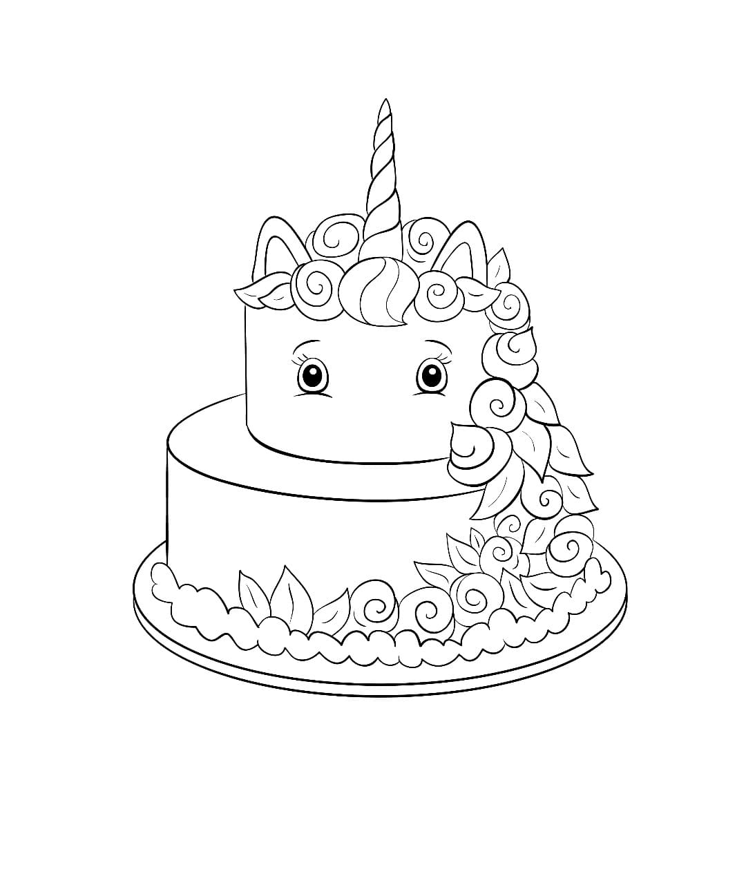 Ausmalbilder Einhorn Torte - Coloring and Drawing