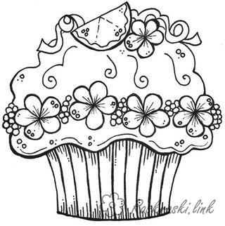 Торты и пирожные Раскраски распечатать бесплатно.