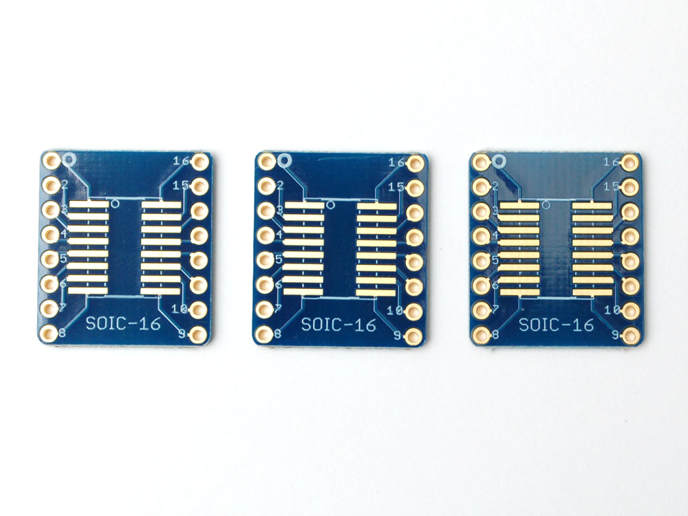 SMT Breakout PCB for SOIC16 or TSSOP16  3 Pack