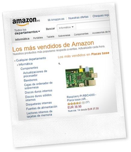 Raspberry Pi la más vendida en amazon