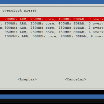raspi-config overclock options velocidad procesador raspberry pi