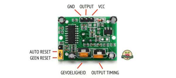 HC-SR501 bewegingssensor pins