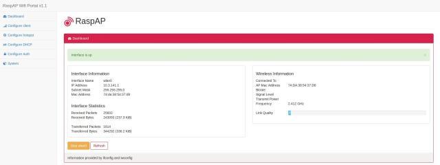 Capture d'écran de l'interface RaspAP