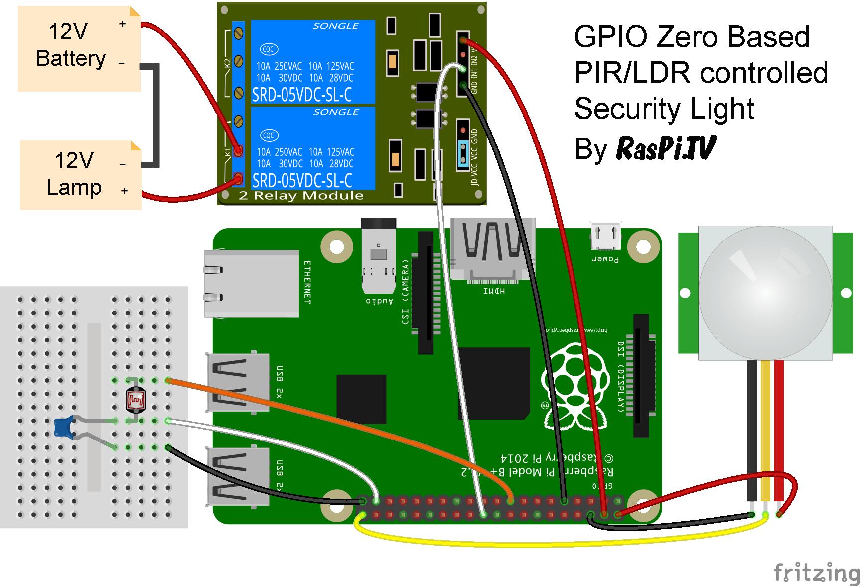 pir security light circuit diagram 1998 jeep tj stereo wiring gpio zero test drive  making of raspi tv