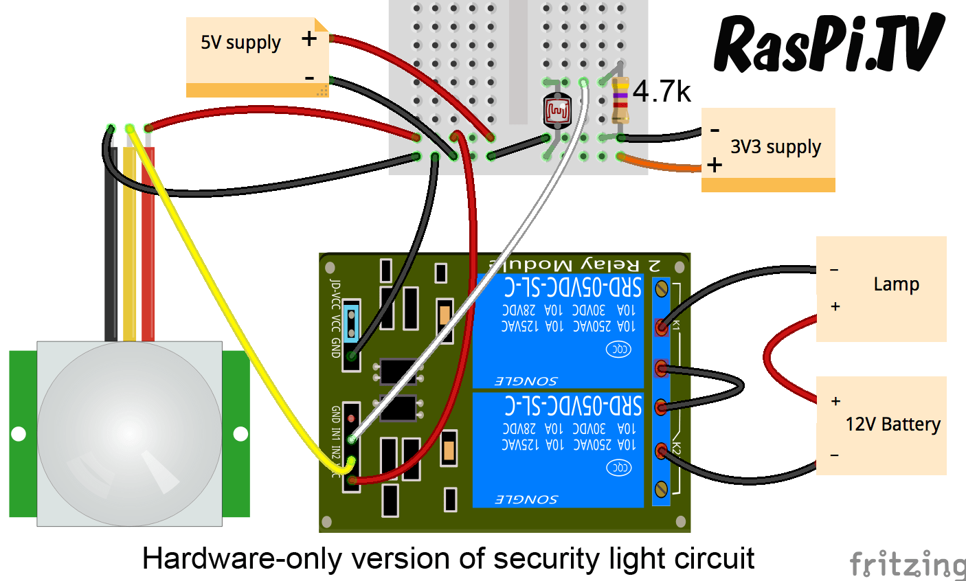 hight resolution of security light circuit in hardware only zero lines of code