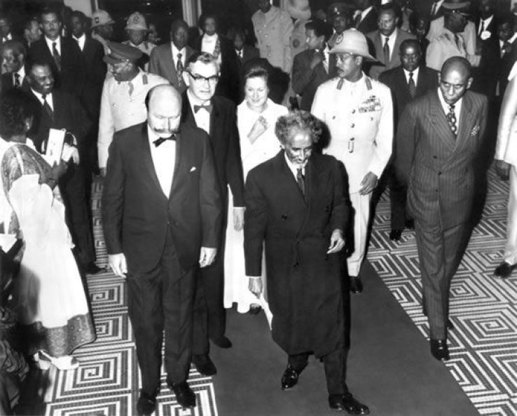 Emperor Haile Selassie enters the theater for the Command Performance. Addis Ababa, Ethiopia, 1973