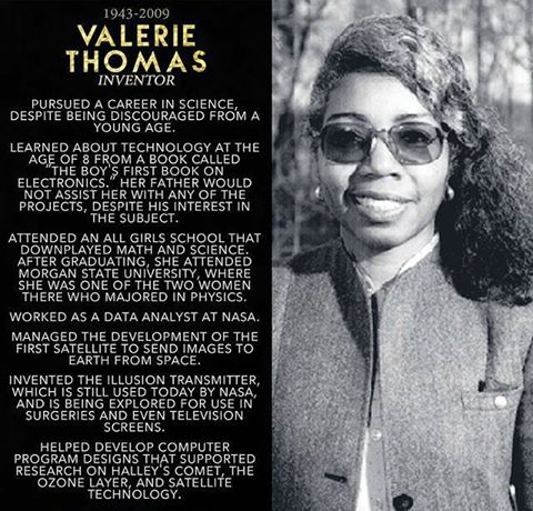 BLACK HISTORY Valerie Thomas African-American scientist inventor contributions to NASA research
