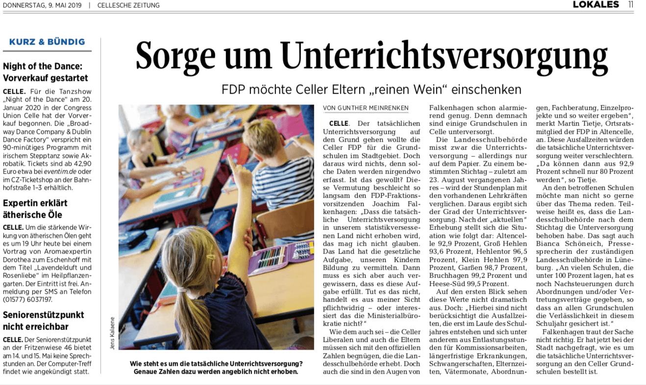 Unterrichtsversorgung an Grundschulen.