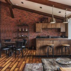 Wooden Kitchen Table Cabinets Kansas City 现代厨房 客厅的想法 砖墙 木制厨房和桌子 漂亮的真皮沙发 甚至是黑色的冰箱 一切都是真正选择的味道
