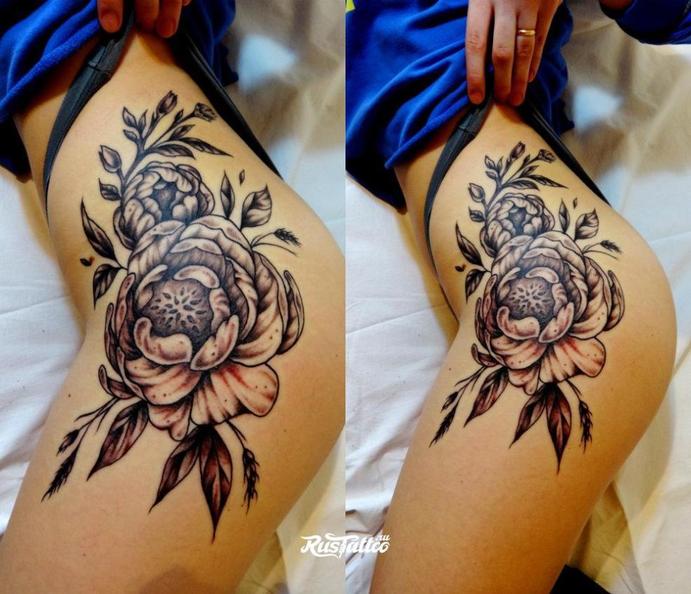 100 лучших идей яркие тату на бедре у девушек и женщин на фото