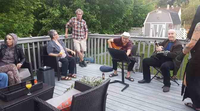 Residents enjoy an evening of art and music