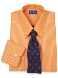 what color/pattern tie goes with a semi bright orange shirt?