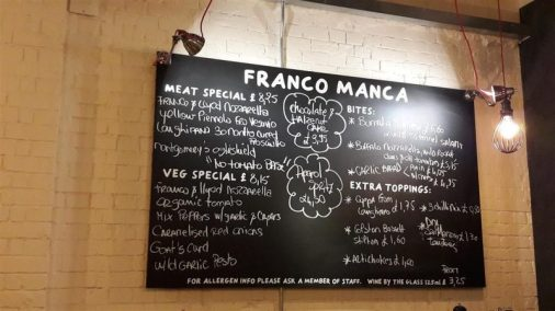 Franco Manca Menu Board