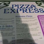 Pizza Express menu