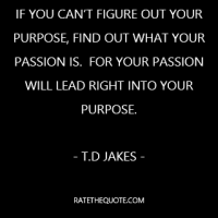 """""""If you can't figure out your purpose, find out what your passion is.  For your passion will lead right into your purpose."""""""