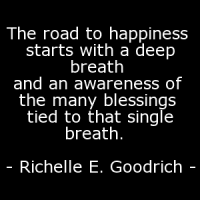 """The road to happiness starts with a deep breath and an awareness of the many blessings tied to that single breath."""