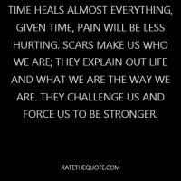 Time heals almost everything, given time, pain will be less hurting. Scars make us who we are; they explain out life and what we are the way we are. They challenge us and force us to be stronger.