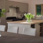 Kitchen island in open plan kitchen