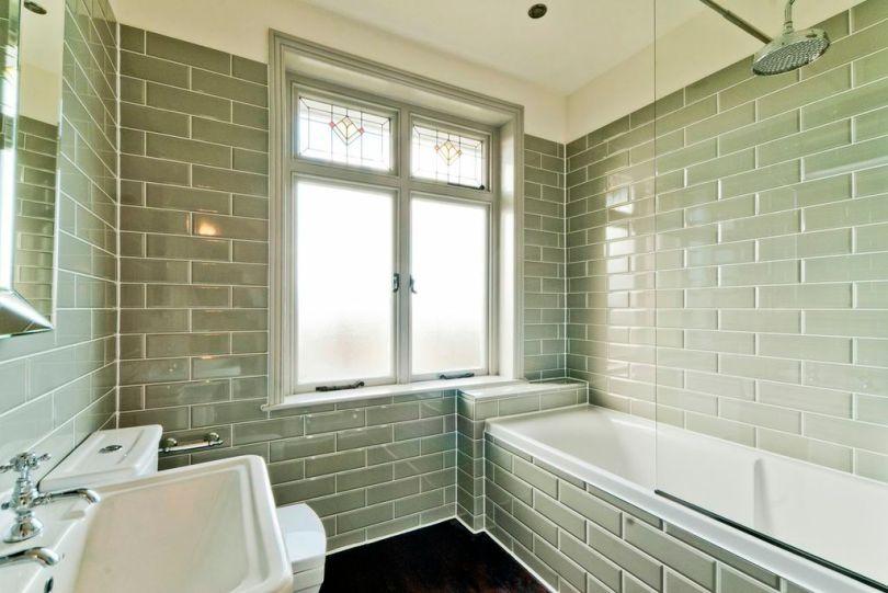 Vintage green tiled bathroom, Bath